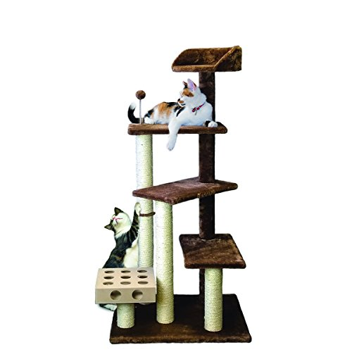Furhaven Pet Cat Furniture Play Stairs with Iq Busy Box, Brown, 26