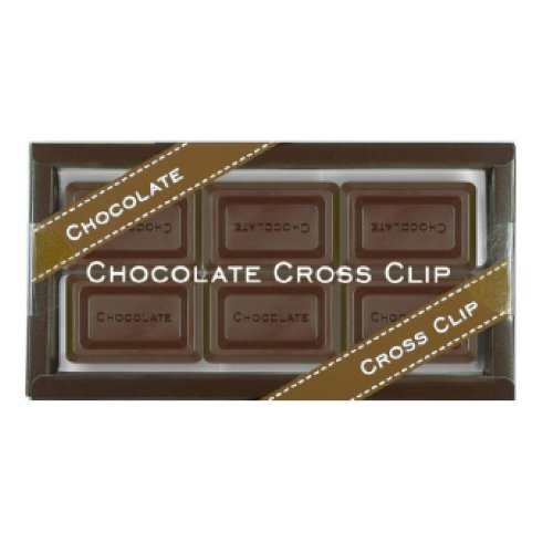 Ohto Chocolate Bar Cross Paper Clip - Bitter Chocolate - Pack of 6