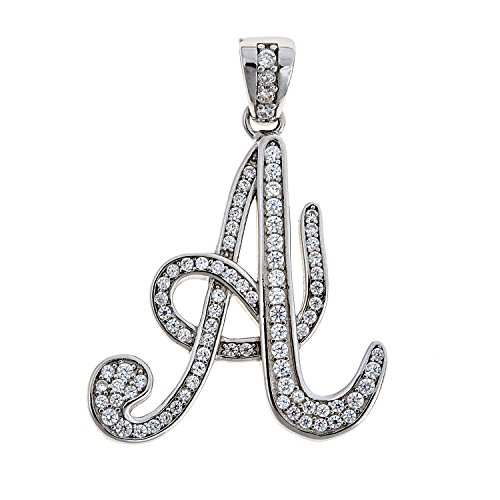 .925 Sterling Silver Small Script Letter Initial Pendant (3 grams) (B)