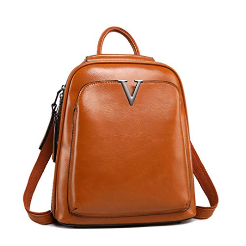 - Woman's Genuine Leather Backpack Ladies Oil Wax Leather Bags Casual Femal Retro Package