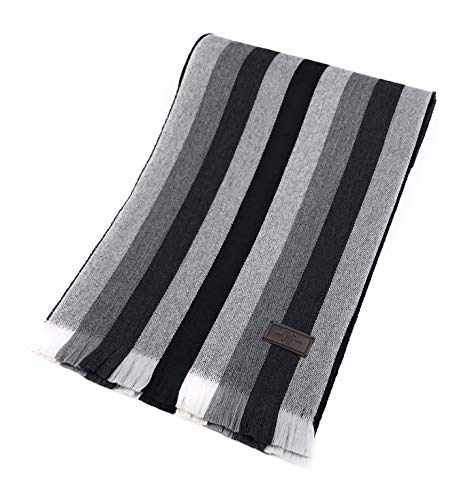 Men's Wool Scarf - Black and Grey Multi Stripe, 100% Australian Merino Wool, 72 inches x 10 inches, by Hickey Freeman ()