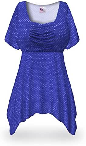 Sanctuarie Designs Dots Print Slinky Plus Size Supersize Babydoll Top