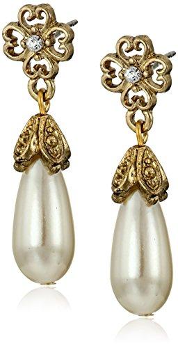 ne Simulated Pearl Flower Drop Earrings ()