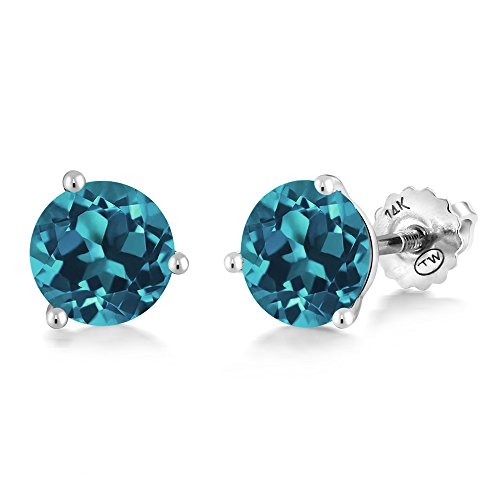 - Gem Stone King 1.50 Ct Round 6mm London Blue Topaz 14K White Gold Martini Setting Stud Earrings