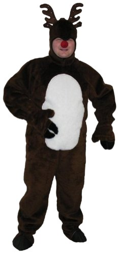 Deluxe Christmas Reindeer Suit w/ Open Face Adult Costume Size 50 Large