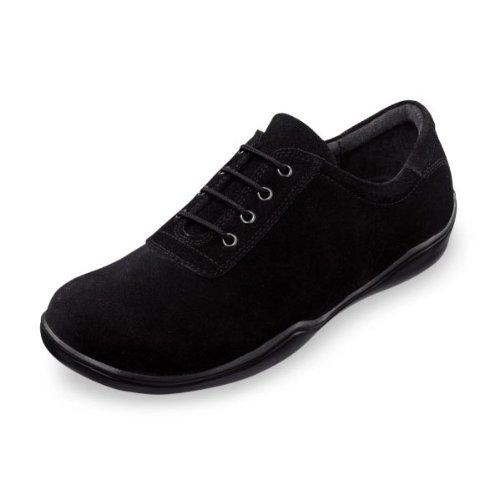 Footprints By Birkenstock PADUA Leather Lace up Shoe (36 EU/US Women 5, Suede Black) (Outdoor Birki Clog)
