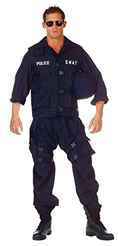 Swat Tactical Vest Costume (UHC Men's Special Weapons & Tactics Police Outfit Halloween Fancy Costume, OS (Up to 44))