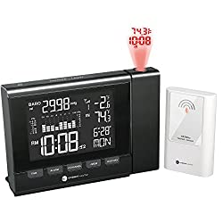 Ambient Weather WS-8400 Projection Clock with Indoor and Outdoor Temperature Color Changing Display