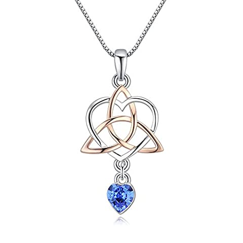 Xingzou Women Love Heart Necklace Pendant,Crystals from Swarovski,Good Luck Irish Triangle Celtic - Celtic Love Symbol
