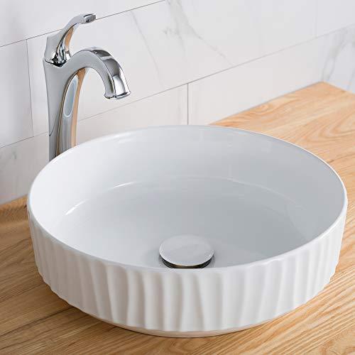 Kraus KCV-201GWH Ceramic Above counter Round Bathroom Sink, 15.75 x 15.75 x 4.75 inches, White