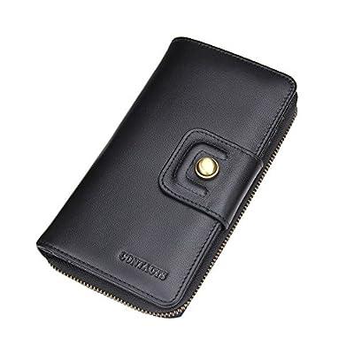 Contacts Mens Genuine Leather Secretary Organizer Clutch Long Purse Zipper Wallet