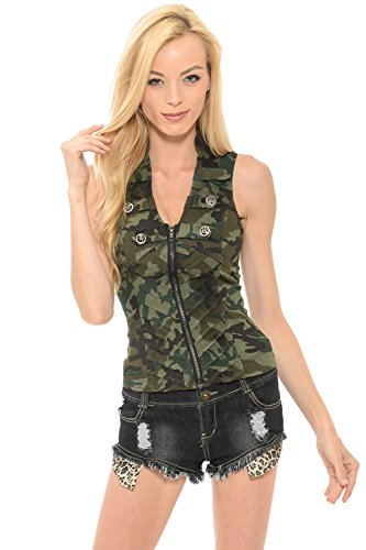 Sexy Female Military Camouflage Vest Jacket Cross-cut Out Back Side (Large, Dark Olive) (Camouflage Vest)