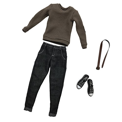 MonkeyJack 1/6 Scale Action Figure Clothes Light Gray Knit Sweater Jeans Shoes Set Accessories