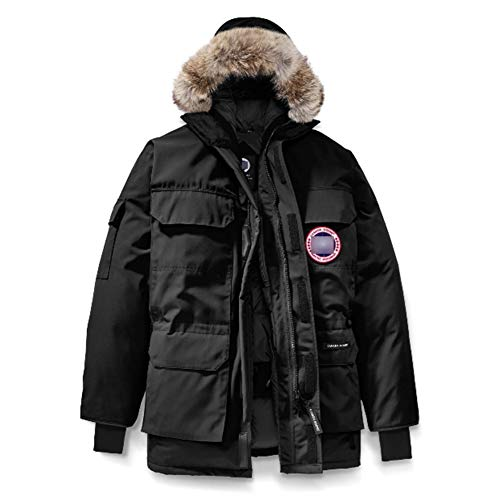 Winter Goose Down Men's Canada Expedition Black Parka Coat(M)