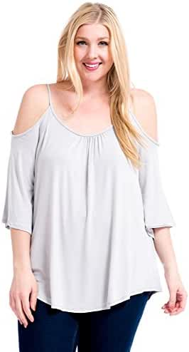 Modern Kiwi Solid Off-The-Shoulder High Low Plus Size Tunic Top