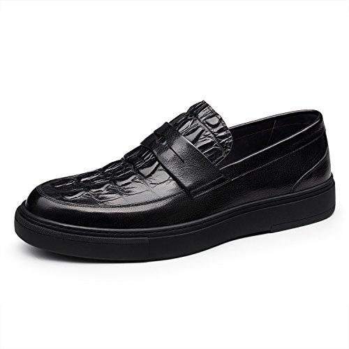 Zro Heren Lederen Krokodil Reliëf Slip-on Mode Zakelijke Schoenen Zwart