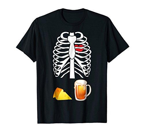 Cheese Beer Skeleton Bone Funny Halloween Costume T-shirt ()
