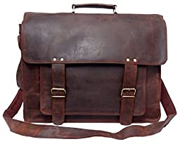 FeatherTouch Men\'s Vintage Soft Briefcase Leather Laptop Bag 18X12X5 Inches Brown
