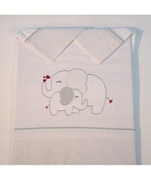 10XDIEZ Juego DE SÁBANAS Cuna Elefante Blanco/Gris - Medidas sabanas bebé - Minicuna (50x80cm)
