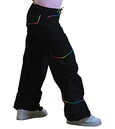 UFO's Monica Pant with Rainbow Piping, Black (Small)