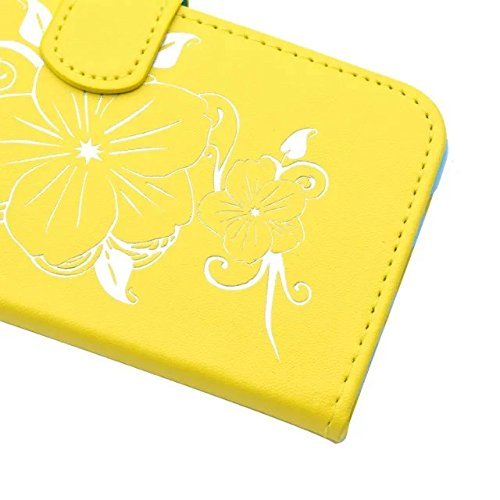 Apple IPhone Case, Fleurs Butterfly Gilding Pattern Case Portefeuille Stand Case Horizontal Flip Case PU Housse en cuir TPU pour Apple IPhone 7 4.7 pouces ( Color : Yellow )