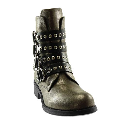 Women's Heel Boots Biker Angkorly Ankle Bronze Perforated Multi Booty Fashion Shoes Boots Boots Straps Rock 5 Combat Block cm 3 1RRZqdx