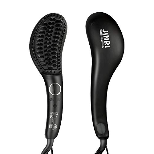 Jinri Ionic Hair Straightener Brush with Double Anion Anti-scald, Ceramic Hair Straightening Brush with Fast Heating, Electric Auto Shut Off, Temperature Lock, Perfect for Travel.