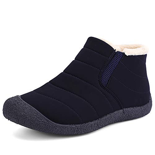 Cooga Women's Waterproof Flat Snow Boots Plus Velvet Winter Lace Up Cotton Platform Sneaker Shoes Navy 8 B(M) from Cooga