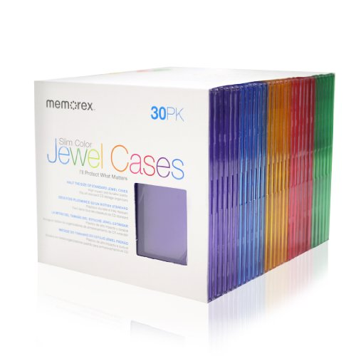 Memorex 30-pack Slim CD Jewel Case - Assorted Colors