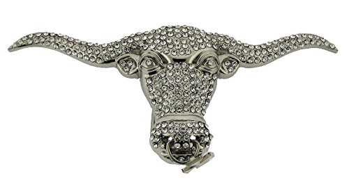 Rhinestone Chopper (Bull Belt Buckle Chopper Nose Pin Silver Metal Rhinestones Unisex Western)
