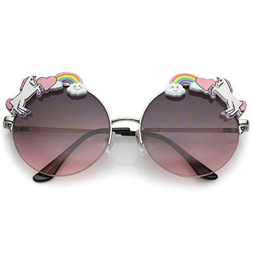 zeroUV - Unicorn Rainbow Semi Rimless Gradient Colored Round Lens Sunglasses 56mm (Silver / Smoke - Unicorn Lenses