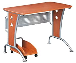 Modern  Computer Desk With Mobile CPU Caddy. Color: Dark Honey