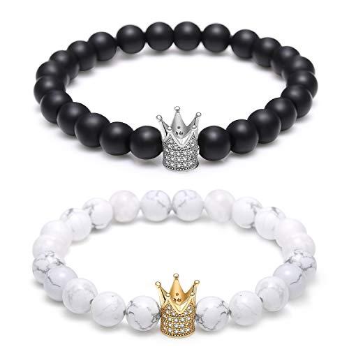 (Monily Couples His & Hers Bracelet Black Matte Agate & White Howlite 8mm Beads Bracelet Crown Bracelet Distance)