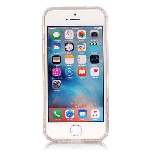 iPhone 5S Etui Coque TPU, E-Lush Anti-rayures Mince Coque pour Apple iPhone 5 SE Flexible Souple Silicone Coque Couverture Legere Transparente Housse de Protection Absorption des Chocs Case Cover avec