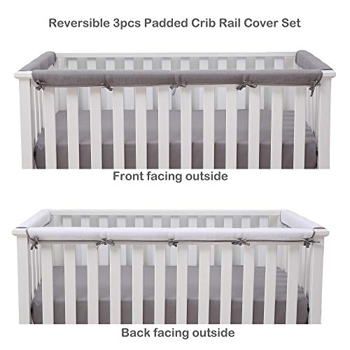 Belsden Microfiber Reversible Crib Rail Cover 3 Piece Set for 1 Long and 2 Side Rails, Durable Padded Baby Teething Guard and Chewing Protector, Measuring up to 8 inches Around, Gray and White Color