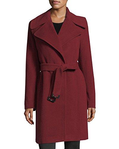 Diane Von Furstenberg DVF Nikki Red Wool belted Wrap Coat (L) -