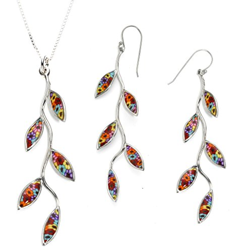 925 Sterling Silver Olive Leaf Jewelry Set Handmade Multi-Colored Polymer Clay Necklace and Earrings, 16.5'' Gold filled Chain by Adina Plastelina Handmade Jewelry