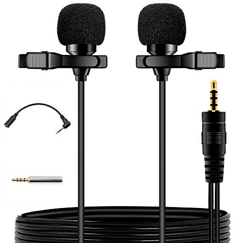 EASJOY Dual-head Lavalier Microphone,236'' Clip-on mini Omnidirectional Condenser lapel clip on mic interview for Apple Iphone,Ipad,Ipod,Android,PC,Recording Youtube,Interview,Video Conference,Podcast by EASJOY