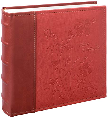 (Golden State Art, Wedding Family Baby Holiday Photo Album Christmas, Vacation, Anniversary Photography book for 200 4x6 Pictures Pockets with Memo, 2 Per Page Large Capacity Maroon Scroll Embossed Faux Leather)