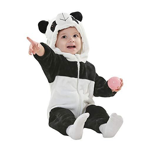 - Unisex Baby Romper Winter and Autumn Flannel Jumpsuit Animal Cosplay Outfits(Panda, 90cm-(13-18months))