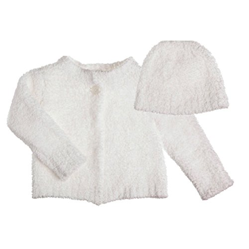 Bibs Boutique Chenille Baby - B. Boutique Vie Luxe White Chenille Baby Cardigan and Hat Set, Size 0-12 Months