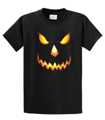 Halloween T-Shirt Scary Pumpkin Face-Black-Medium