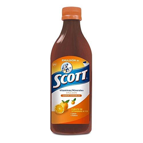 Scott Emulsion Orange Flavor - Family Size 400ml - Vitamin Supplement Rich in Cod Liver Oil, Vitamins a and D, Calcium and Phosphorus - Emulsion Scott Naranja