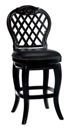 Hillsdale - Braxton Wood Bar Stool with Black Leather Seat