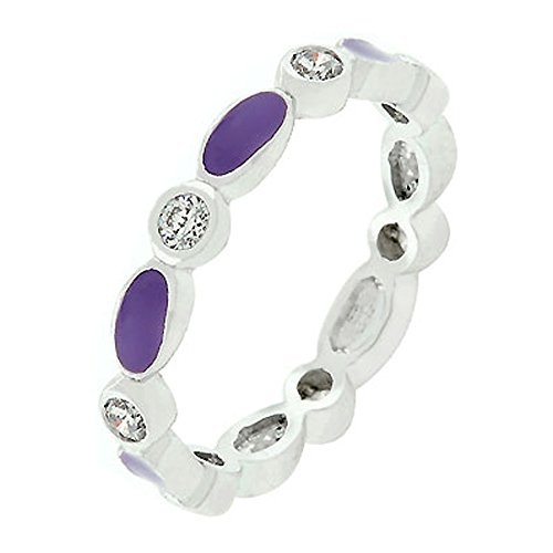 - J Goodin Fashion Jewelry Purple Link Enamel Stacker Ring Size 6