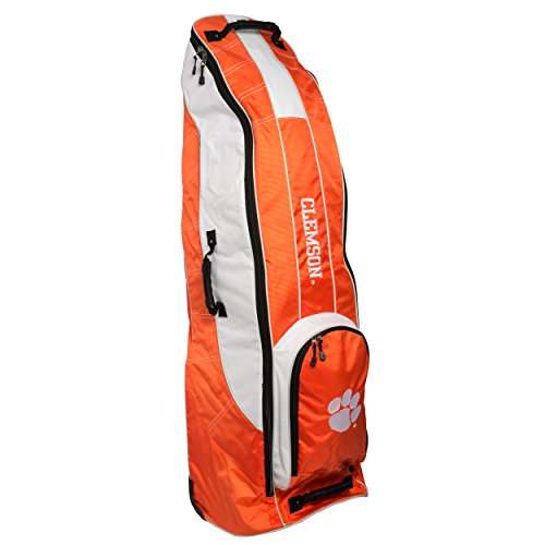 Team Golf NCAA Clemson Tigers Travel Golf Bag, High-Impact Plastic Wheelbase, Smooth & Quite Transport, Includes Built-in Shoe Bag, Internal Padding, & ID Card Holder