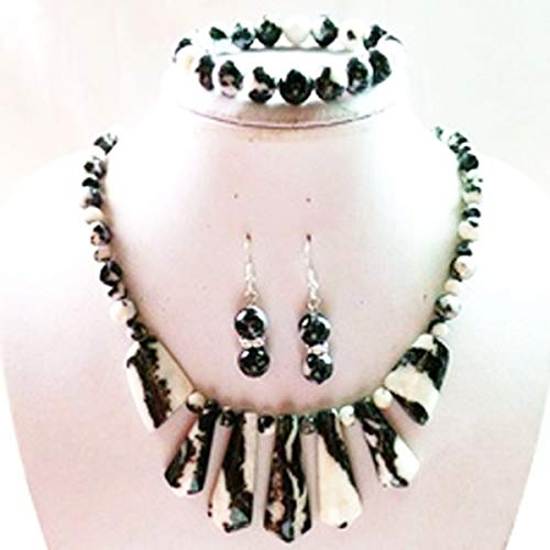 yt Black and White Zebra Jasper Necklace & Earrings & Stretchy Bracelet Pendants for Unisex for Gift