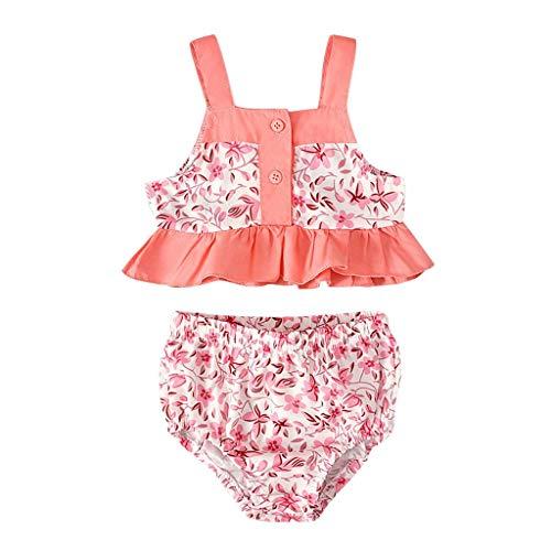- 2PCS Toddler Kids Baby Girs Strap Ruffled Floral Print Tops Shorts Outfits Sets