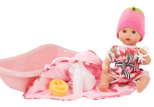 "Gotz Sleepy Aquini Strawberry Fields 13"" All Vinyl Drink & Wet Bath Baby Doll with Bathtub and Accessories"