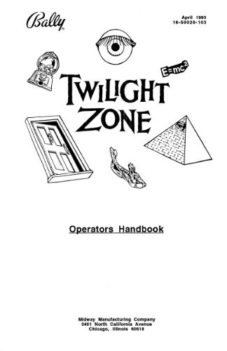 Twilight Zone Pinball Operators Handbook Manual